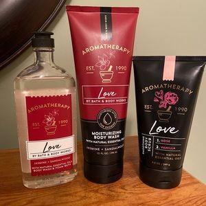 "3 pc bath & body works aromatherapy bundle ""Love"""